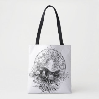 Frog, Mushroom and Frogs Retro Toad Black & White Tote Bag