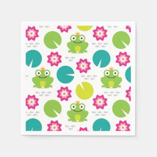 Frog & Nenuphar Seamless Pattern Paper Napkins