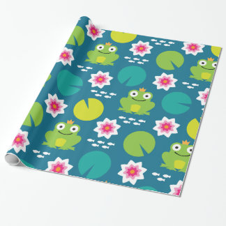 Frog & Nenuphar Seamless Pattern Wrapping Paper