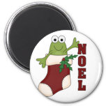Frog Noel Holiday Tshirts and Gifts 6 Cm Round Magnet