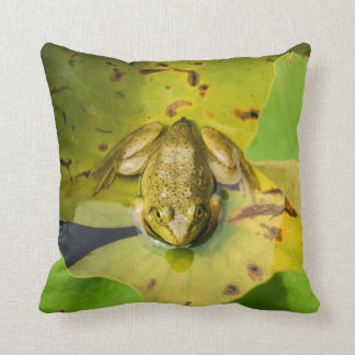 Frog on Lily Pads Throw Pillow