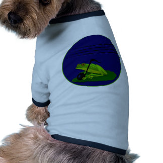 Frog on Lilypad with music notes Ringer Dog Shirt
