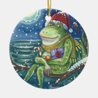 Frog On Log CHRISTMAS ORNAMENT