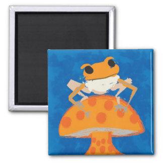 frog on mushroom magnet