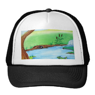 Frog on the Rock Mesh Hats