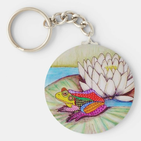 Frog on water lily key ring