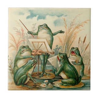 Frog Orchestra Vintage Illustration Tile