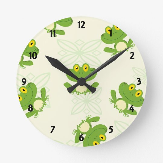 Frog Pattern Childrens Learning Wall Clock