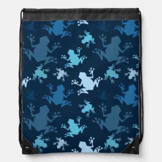 Frog Pattern; Navy, Midnight, Sky, Baby Blue Frogs Backpack