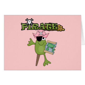 Frog Pirate Girl tshirts and Gifts Greeting Cards
