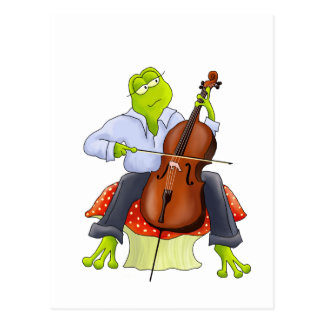 Frog Plays Cello Postcard