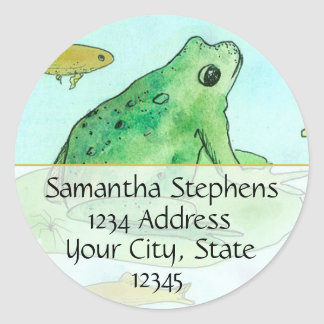 Frog Pond Goldfish Watercolor Return Address Classic Round Sticker