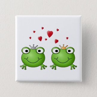 Frog Prince and Frog Princess, with hearts. 15 Cm Square Badge