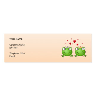 Frog Prince and Frog Princess, with hearts. Business Card Template
