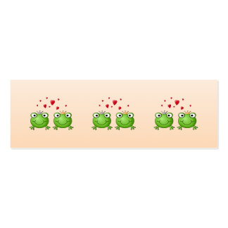 Frog Prince and Frog Princess, with hearts. Double-Sided Mini Business Cards (Pack Of 20)
