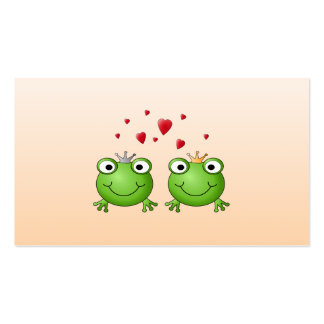 Frog Prince and Frog Princess, with hearts. Pack Of Standard Business Cards