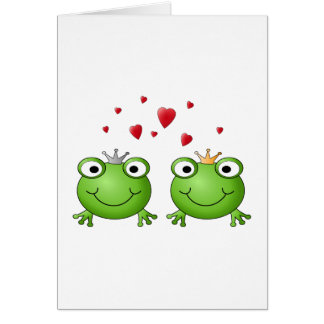 Frog Prince and Frog Princess, with hearts. Card