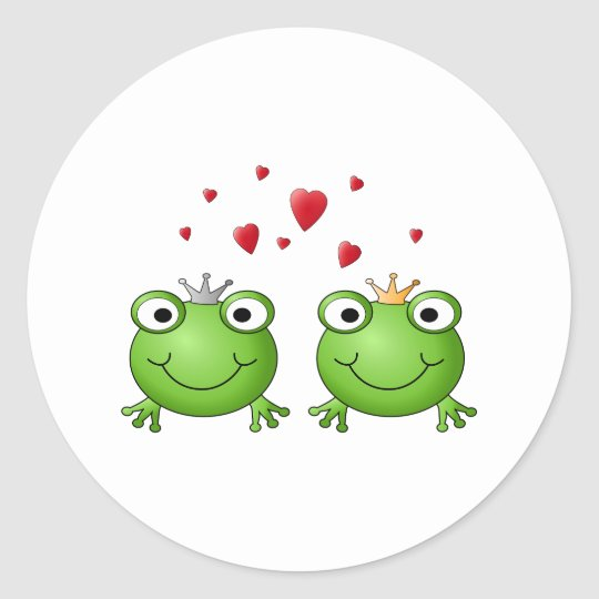 Frog Prince and Frog Princess, with hearts. Classic Round Sticker