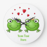 Frog Prince and Frog Princess, with hearts. Clock