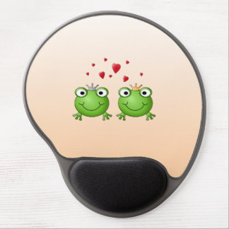Frog Prince and Frog Princess, with hearts. Gel Mouse Mat