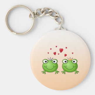 Frog Prince and Frog Princess, with hearts. Key Ring