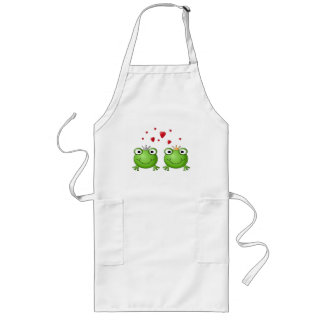 Frog Prince and Frog Princess, with hearts. Long Apron