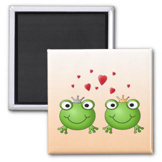 Frog Prince and Frog Princess with hearts Fridge Magnets