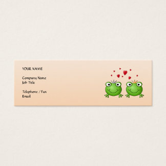Frog Prince and Frog Princess, with hearts. Mini Business Card