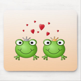 Frog Prince and Frog Princess, with hearts. Mouse Mat