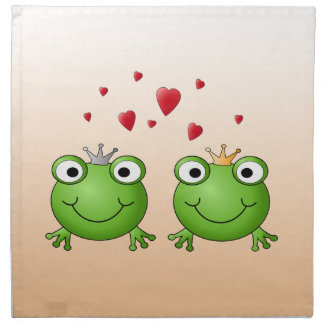 Frog Prince and Frog Princess, with hearts. Napkin