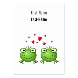 Frog Prince and Frog Princess, with hearts. Pack Of Chubby Business Cards
