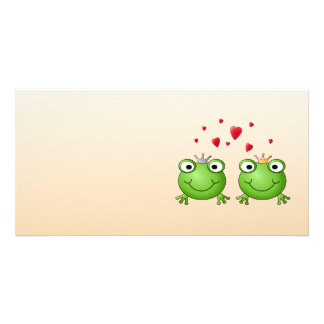 Frog Prince and Frog Princess with hearts Customized Photo Card