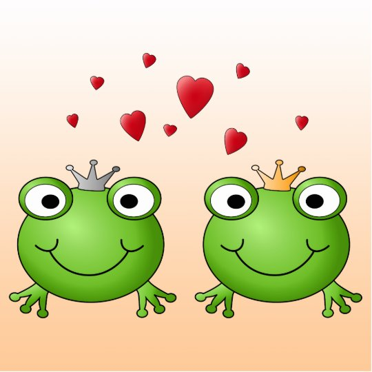 Frog Prince and Frog Princess, with hearts. Photo Sculpture Key Ring