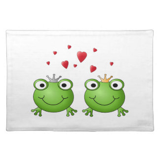 Frog Prince and Frog Princess, with hearts. Placemat