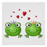 Frog Prince and Frog Princess, with hearts. Poster