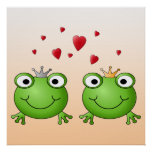 Frog Prince and Frog Princess, with hearts. Posters