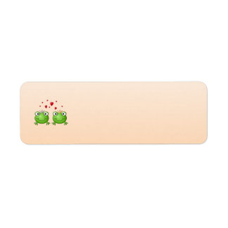 Frog Prince and Frog Princess, with hearts. Return Address Label