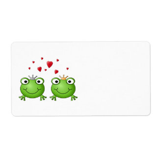 Frog Prince and Frog Princess, with hearts. Shipping Label