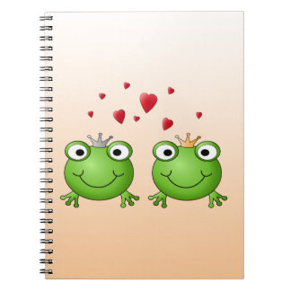 Frog Prince and Frog Princess, with hearts. Spiral Notebook
