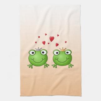 Frog Prince and Frog Princess, with hearts. Tea Towel