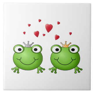 Frog Prince and Frog Princess, with hearts. Tile