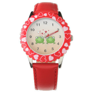 Frog Prince and Frog Princess, with hearts. Wristwatch