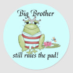 Frog Prince Big Brother Tshirts and Gifts Round Stickers