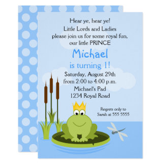 Frog Prince Birthday Party Card