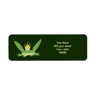 Frog Prince Funny Green Cartoon Cute Return Address Label