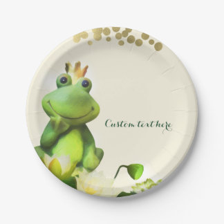 Frog Prince Green & Gold Baby Shower Custom Party 7 Inch Paper Plate