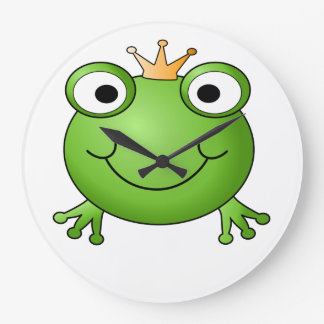 Frog Prince. Happy Frog. Large Clock