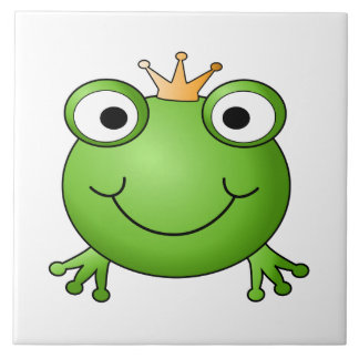 Frog Prince. Happy Frog. Large Square Tile