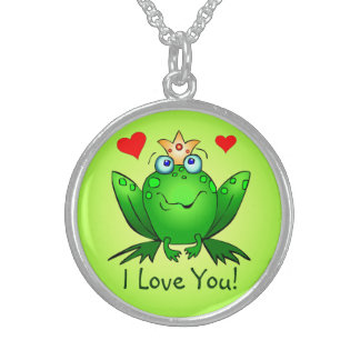 Frog Prince I Love You Green Cartoon Frog Hearts Round Pendant Necklace