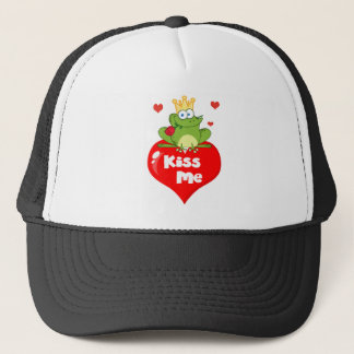 Frog Prince On A Red Heart Trucker Hat
